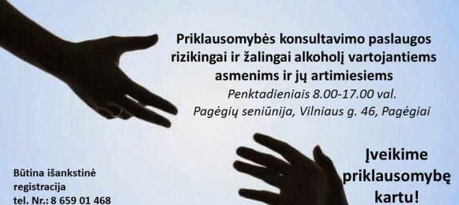 Priklausomybės konsultavimo paslaugos Pagėgių savivaldybės gyventojams!