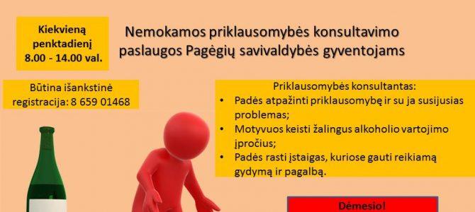 Nemokamos priklausomybės konsultavimo paslaugos Pagėgių savivaldybės gyventojams!